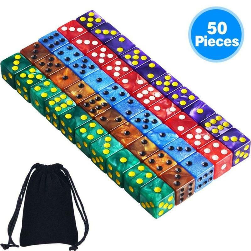 AUSTOR 50 Pieces 6- Sided Dice Set, 5 x 10 Pearl Colors Square Corner Dice with