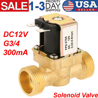 Dc12v Volt G34 Normally Closed Electric Solenoid Valve Water Brass Warrow Sign