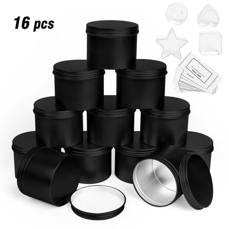 16pcs Black Candle Making Tins 100ml Empty Storage Jars with Screw Lids Gift