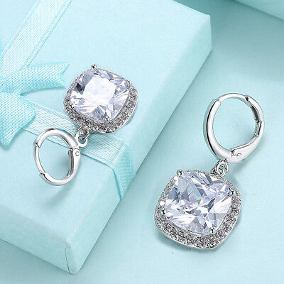 14kt White Gold Cushion-Cut Morganite & White Topaz Halo Leverback Drop Earrings