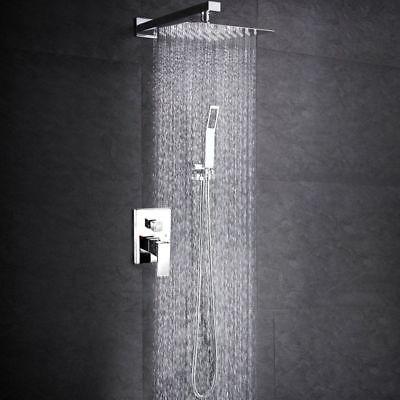 Bathroom Rain Mixer Shower Combo Set Wall Mount 8 inch Rainfall with Hand Shower