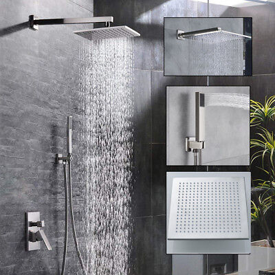 Wall Mounted Brushed Nickel Shower Faucet Combo Set 8-16 inch Rainfall Shower - Nickel Wall Faucet