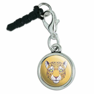 Gold Spotted Leopard Face Mobile Cell Phone Headphone Jack Charm for sale  Shipping to India