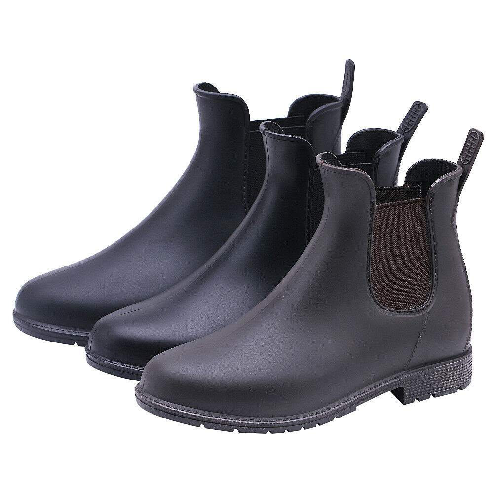 Womens Rain Boots Waterproof Shoes Slip On Casual Working An