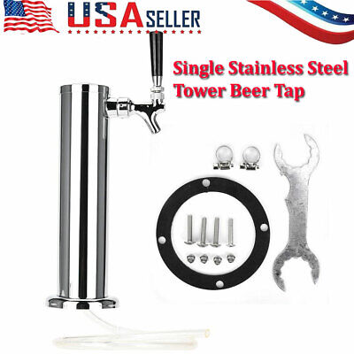 3 Tap Single Faucet Stainless Steel Draft Beer Tower Homebrew Bar For Kegerator