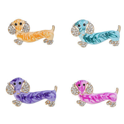 Enamel Rhinestone Dachshund Dog Animal Brooch Pin for Women Kids Jewelry Gift