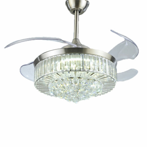 """42"""" Invisible Ceiling Fan Light Crystal Chandelier Pendant Lamp w/Remote - Silver 4"""