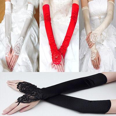 Fashion Bride Wedding Bridal Party Dress Long Fingerless Pearl Lace Satin Gloves