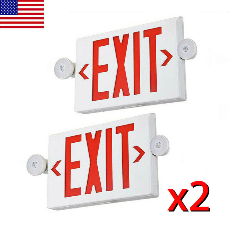 2PCS UL-Listed Emergency Light-Red LED Exit Sign - Dual Lamp ABS Fire Resistance