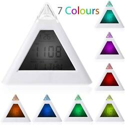 Fashion 7 LED Changing Color Pyramid Digital LCD Alarm Desk Clock Thermometer v>
