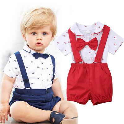 US 2PCS Infant Baby Boy Clothes Romper Jumpsuit Bodysuit+Pants Shorts Outfit Set - Infant Boy Outfit