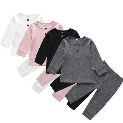 UK Newborn Toddler Baby Boy Girls Cotton T-shirt Top+ Pants Outfits Clothes Set