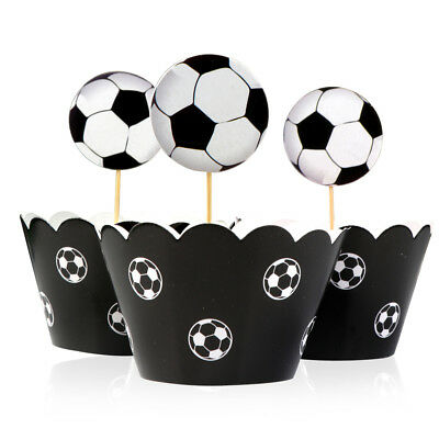 Football Cake Toppers (24PCS Football Soccer Cake Cupcake Toppers & Wrappers Kids Birthday Party)