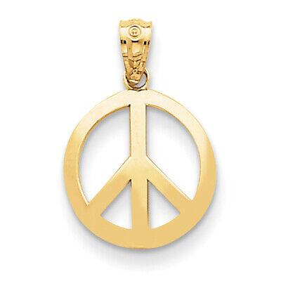 14k Yellow Gold Polished Peace Sign Circle Pendant YC815 Yellow Gold Peace Sign
