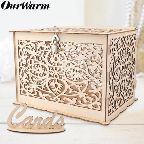DIY Rustic Wedding Card Box with Lock Wood Gift Card Holder