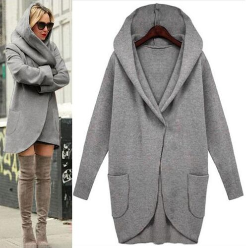 Women Transit Jacket Waterfall Cardigan Sweater Jacket Hooded ...