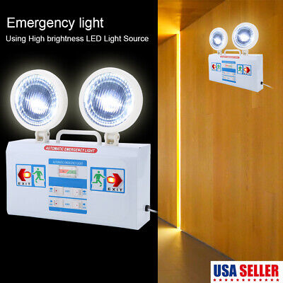 - Red LED Emergency Exit Light Sign Battery Backup Dual Safety US STOCK