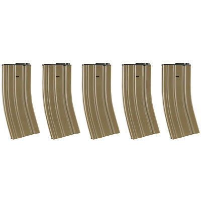 Lancer Tactical Full Metal 120rd M4 Mid-Cap Airsoft Gun AEG Magazine Tan 5pc