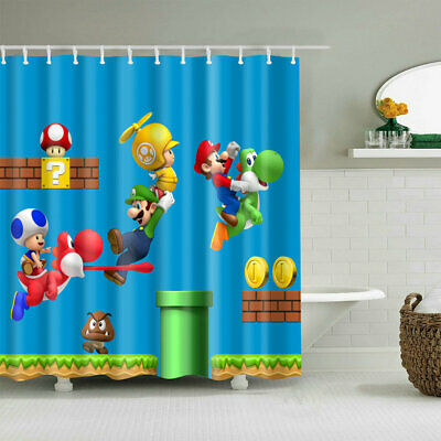 Children's Cartoon Shower Curtain Art Bathroom Decor Bath Curtains Set 12 Hooks ()