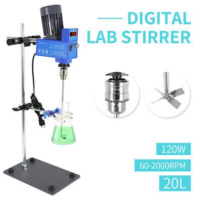 20l Digital Overhead Laboratory Stirrer Mixer Speed Adjustable 2000rpm 110v
