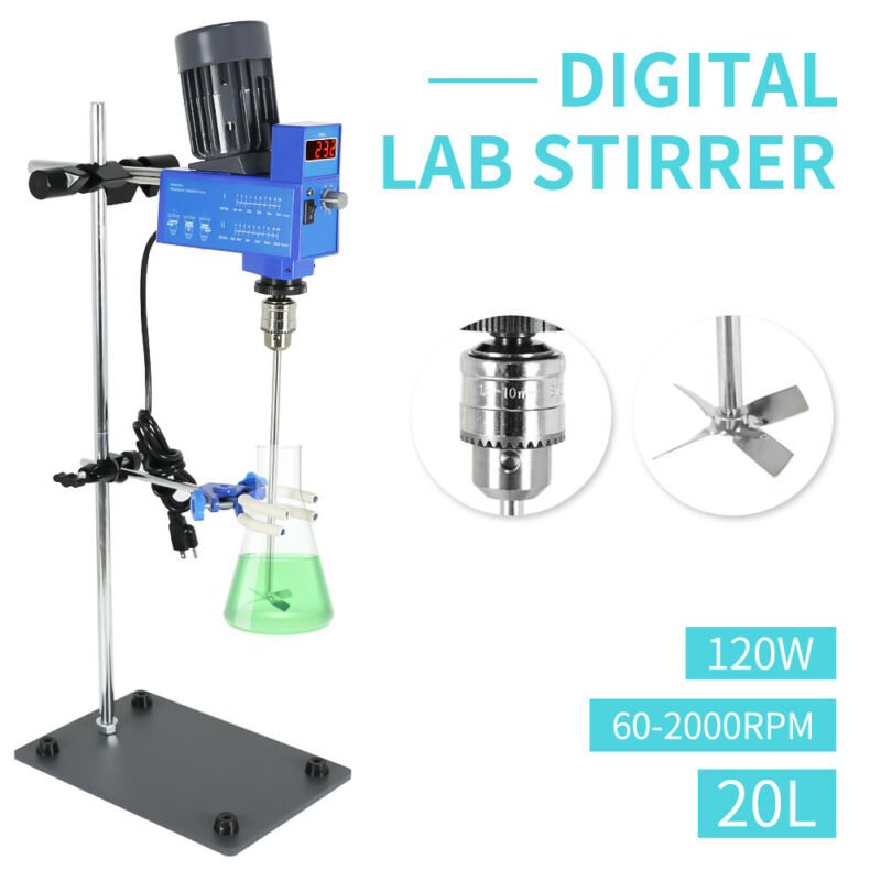 20L Digital Overhead Laboratory Stirrer Mixer Speed Adjustable 2000RPM 110V