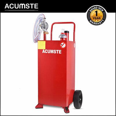 30 Gallon Gas Caddy Tank Storage Gas Diesel Fuel Transfer Wheel Hose W Pump Red
