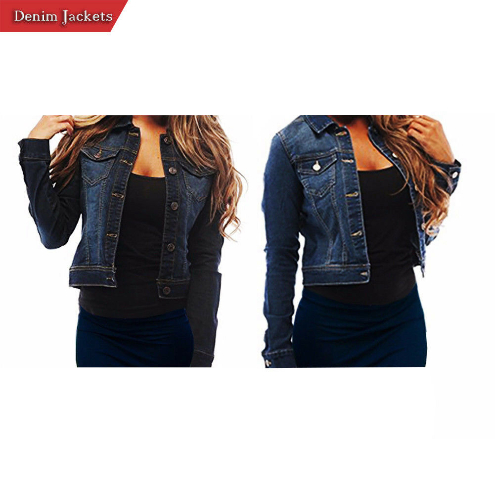 Ladies Soft Denim Full Sleeve Button Jacket Vest Women Casua