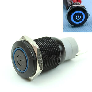 16mm-12V-Blue-LED-Metal-Power-Symbol-Push-Button-Momentary-Switch-For-Car-Boat