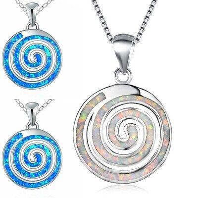 Blau Fire Opal Halskette Choker Silber Anhänger Damen Schmuck Geschenk Mode
