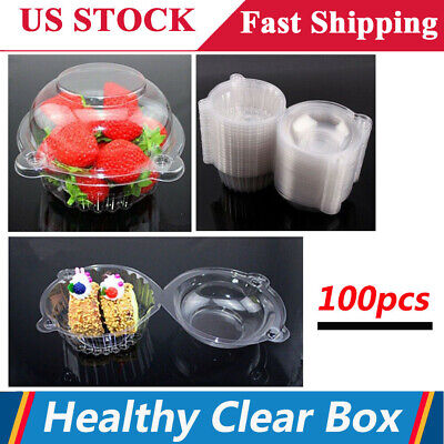 100 Pack Plastic Cupcake Cake Case Muffin Dome Fruit Holder Box Container Party](Cupcake Plastic Containers)