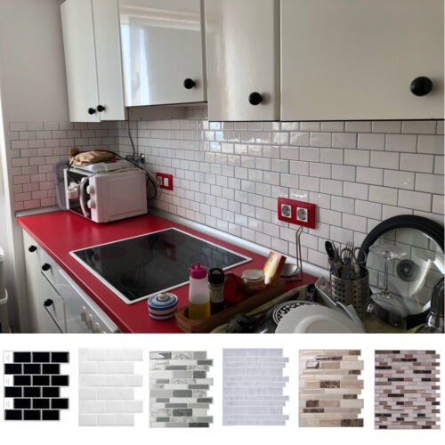Home Decoration - Mosaic Self-Adhesive Kitchen Backdrop Wall Tiles Stickers Peel & Stick Bathroom