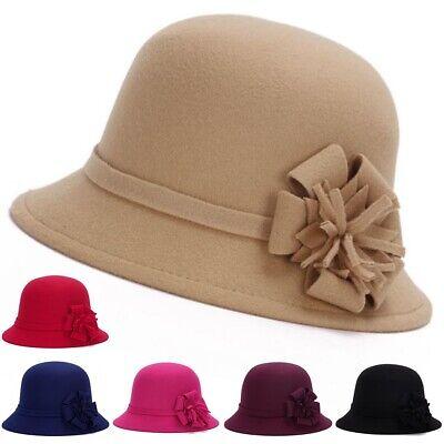 Ladies Women Vintage Wool Felt Bucket Cap Flower Cloche Church Derby Bowler Hat Bucket Church Hat