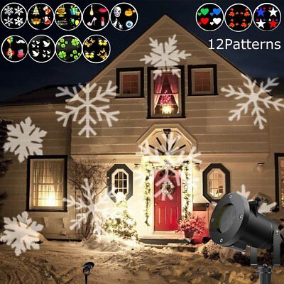 Outdoor Moving Snowflake LED Laser Light Projector Xmas Garden Lamp 12 Patterns - Snowflake Light