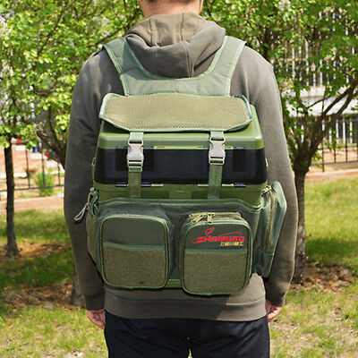 Sea Fishing Tackle Bag Pack Shoulder Box Reel Lure Storage Rucksack Case