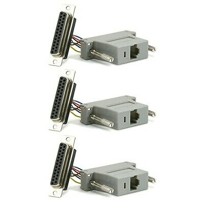 3 Pcs DB25 DB-25 Parallel RS232 Female to RJ45 Network Female Adapter Converter Db25 Network Adapter
