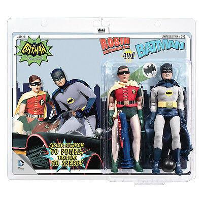 Batman Classic 66 TV Show 8 Inch Figure Two-Pack: Batman & Removable Mask Robin (Batman And Robin Masks)