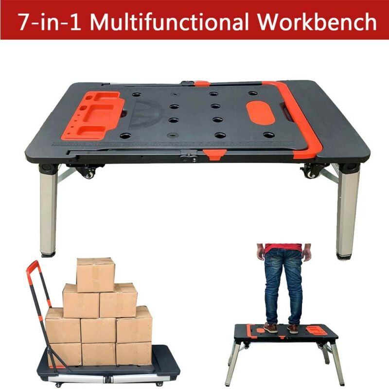 7-IN-1 Workbench Multi-Function Work Platform Foldable Storable Trolley Handcart