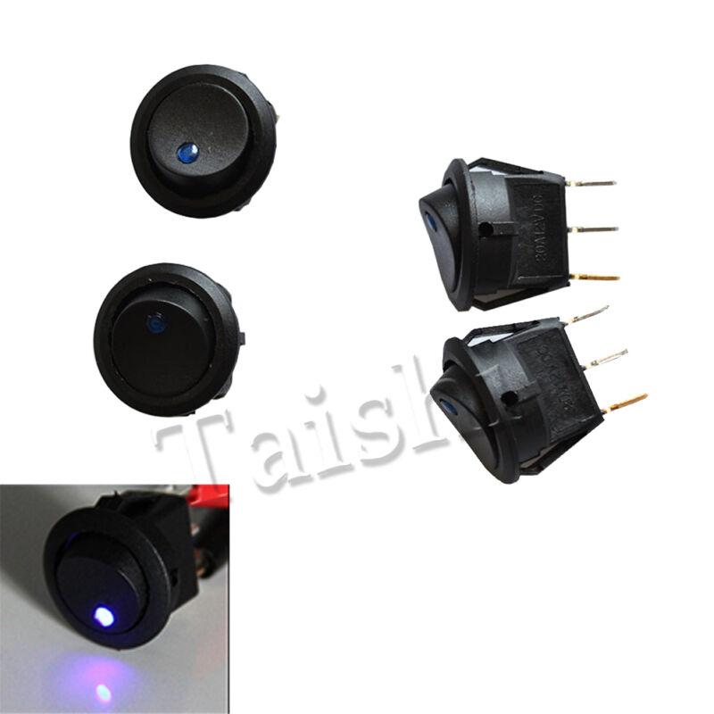 HOT 12V 16A 10pcs Car Round Rocker Dot Boat Blue LED Light Toggle ON//OFF Switch