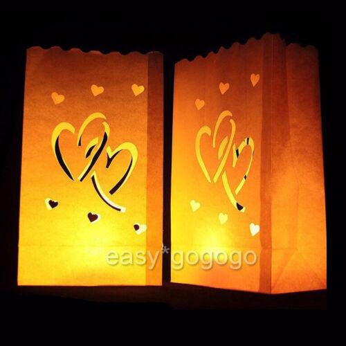 20/40x Lichttüten Kerzen Luminarias Papier Candlebags Hochzeit Party Deko Herz