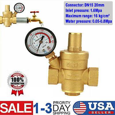 Dn15 Water Pressure Regulator Npt 12 Inch Adjustable Brass Reducergauge Meter