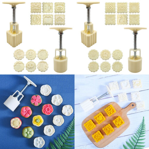 US 14 Pack Moon Cake Mold Mould Mid-Autumn Flower Round Square Pattern DIY Tools