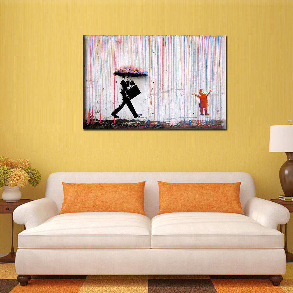 Banksy street art Colorful Rain canvas painting wall Picture Wal ...