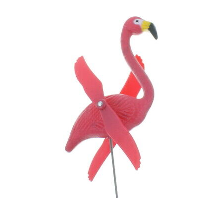 Lot of 6 Plastic Twirling Pink Flamingo Spinning Yard Stakes