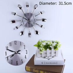 12.4 Kitchen Wall Clock Spoon & Fork Cutlery Decorative Sliver Home 3D US STOCK