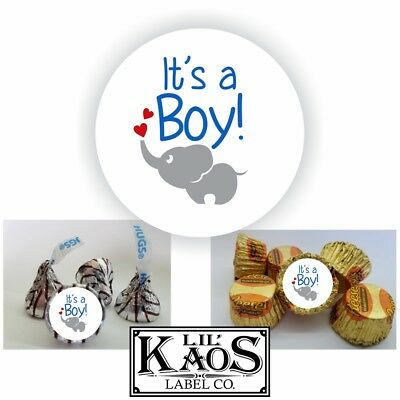 108 Baby Boy Stickers for Elephant Baby Shower Candy Kisses Favors Bags Seals (Candy Bags For Baby Shower)