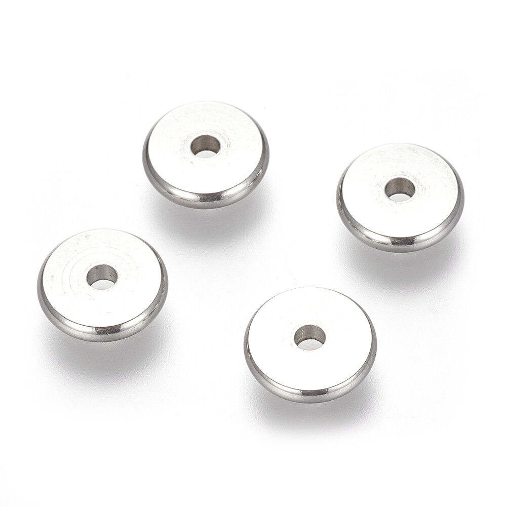 100pcs 304 Stainless Steel Flat Disc Metal Beads Donut Tiny Spacers 4//6//8//10mm