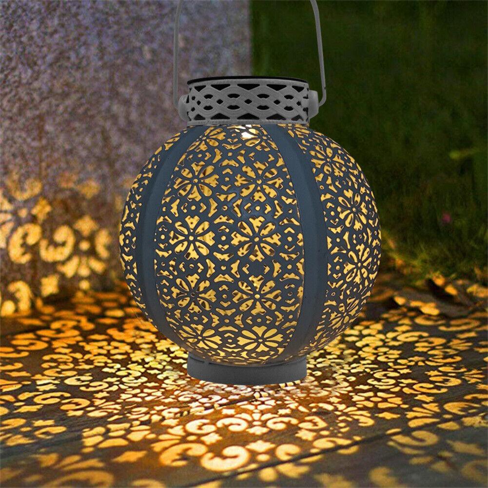 Roma Solar Powered Wicker Effect Garden Patio Light Up Lantern Decoration