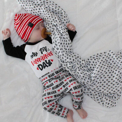 Valentine's Day 3Pcs Newborn Baby Boy Girl Top Romper Pants Hat Outfits Clothes