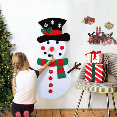 Christmas DIY Felt Snowman Set Xmas Decor Wall Hanging Ornam kit Christmas Gifts
