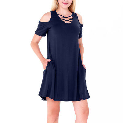 Women Criss Cross Front Cold Shoulder Short Sleeve Top Shirt Tunic Mini Dress (Cross Front Mini Dress)